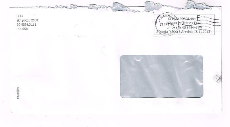 DOB skrytka pocztowa 2108 90-959 Łódź 2